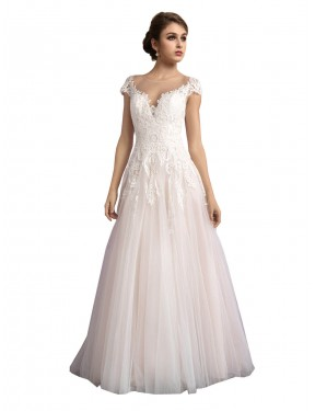 Shop A-Line Illusion Long Cathedral Train Ivory & Champagne Mariana Wedding Dress Montreal
