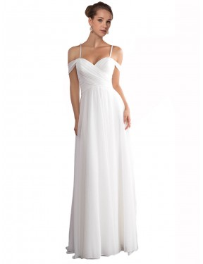 Shop A-Line Off the Shoulder Long Sweep Train Ivory Ruth Wedding Dress Montreal
