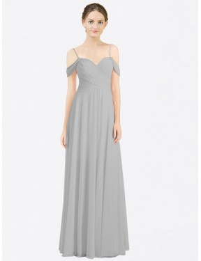 Shop A-Line Sweetheart Spaghetti Straps Off the Shoulder Long  Silver Breanna Bridesmaid Dress Montreal